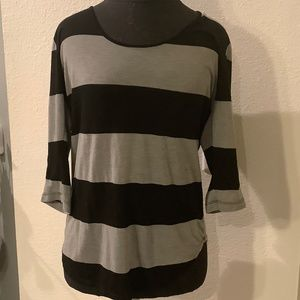 NATION LTD Three-Quarter Sleeve Striped Tee